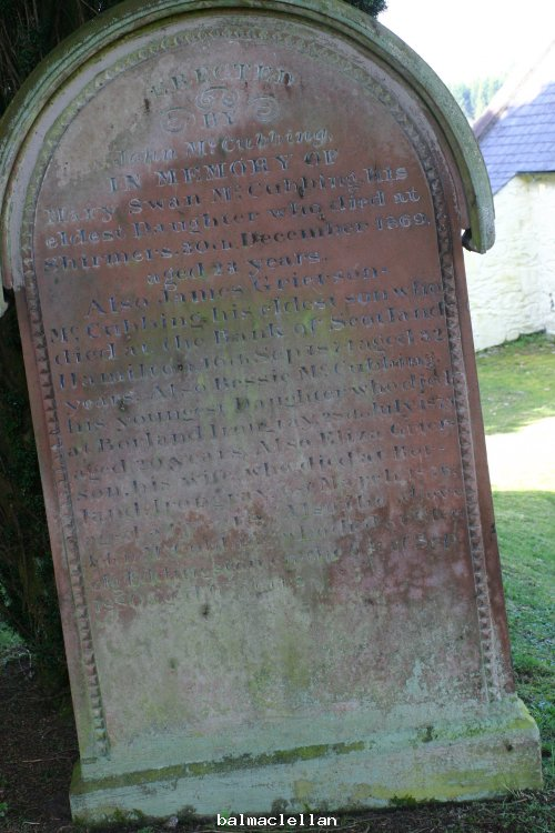 gravestone at Balmaclellan church