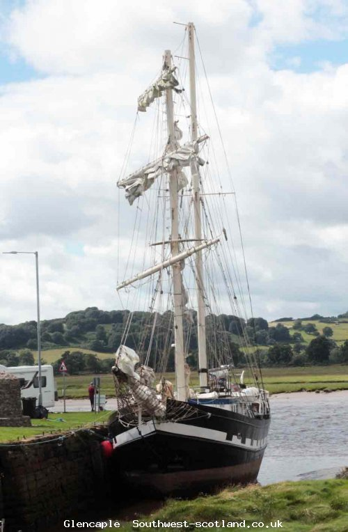 La Malouine at mooring on the Nith at Glencapel Aug 2017